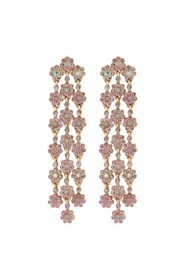 Rose Gold Plated Pink Floral Chandelier Earrings