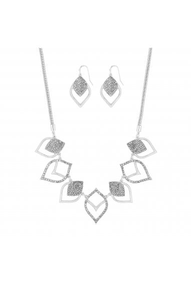 Silver Plated Clear Cut Out Pave Matching Set