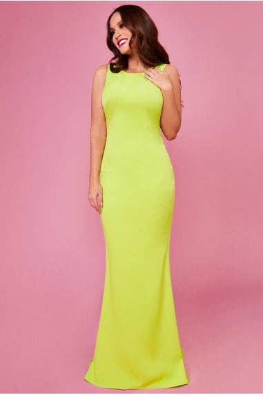 Vicky Pattison Lime Low Back Strap Bow Maxi Dress