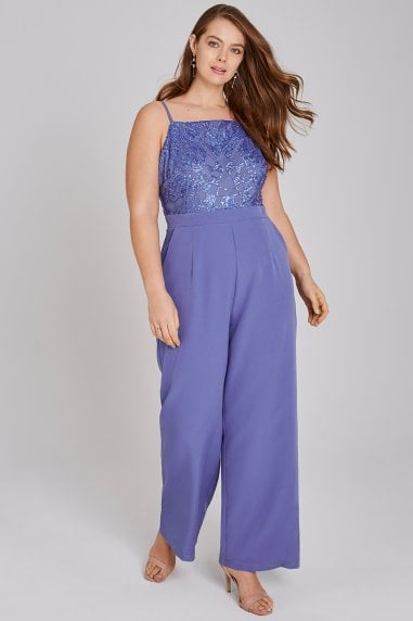 Tamsin Blue Sequin Cami Jumpsuit
