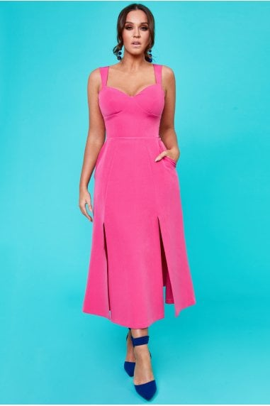 Vicky Pattison Cerise Low Back Strap Bow Maxi Dress