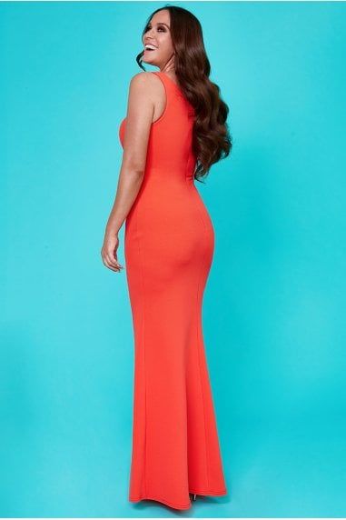 Vicky Pattison Orange Side Shoulder Bow Maxi Dress