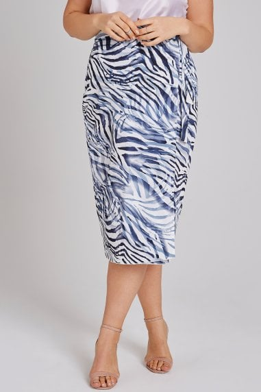 Haden Blue Zebra Wrap Midi Skirt