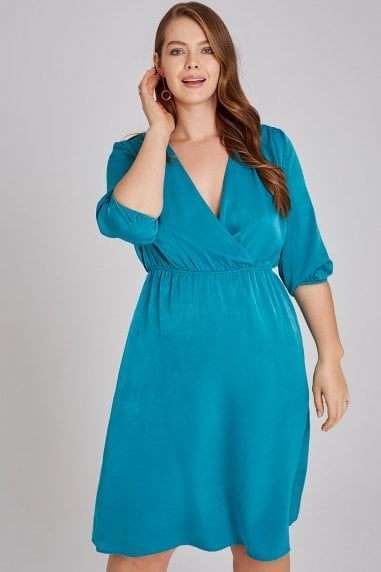 Adyn Green Satin Mock Wrap Midi Dress