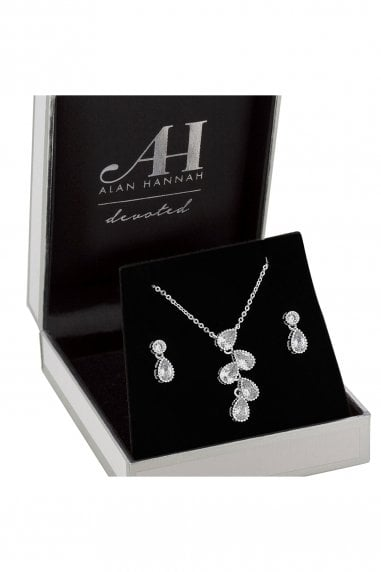 Silver Plated Clear Crystal Teardrop Matching Set
