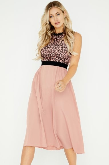 Ariane Apricot Crochet Lace Midi Dress