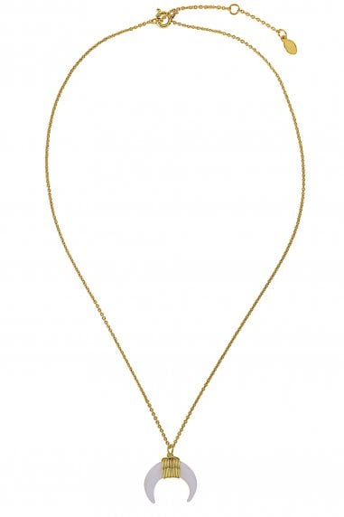 Gold Lunar Gold Plated White Shell Horn Necklace