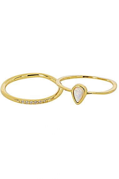 Gold Lunar Gold Plated Sterling Silver Pretty Stacking Rings