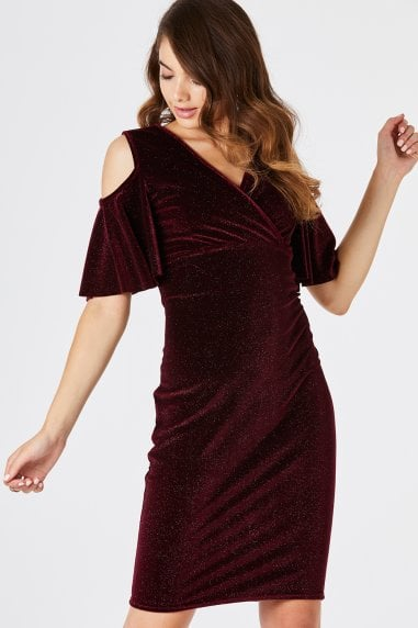 Tribeca Red Cold Shoulder Dress
