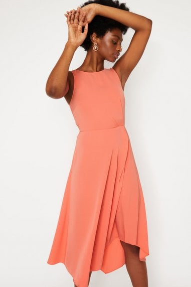 Tie Back Midi Dress In Coral