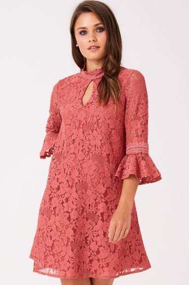 Helene Terracotta Lace Shift Dress