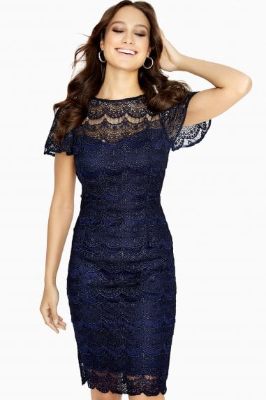 Orleans Navy Scallop Hem Dress