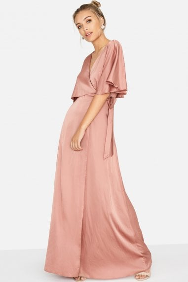 Les Nuits Satin Wrap Dress