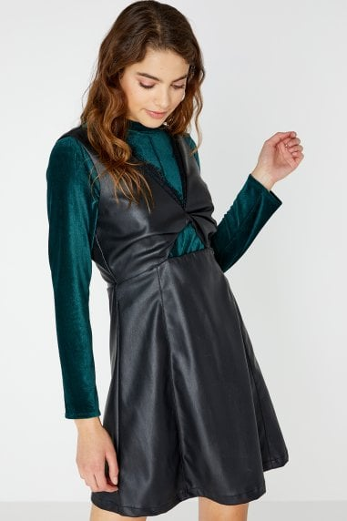 Olympe Twist Front Leather Dress