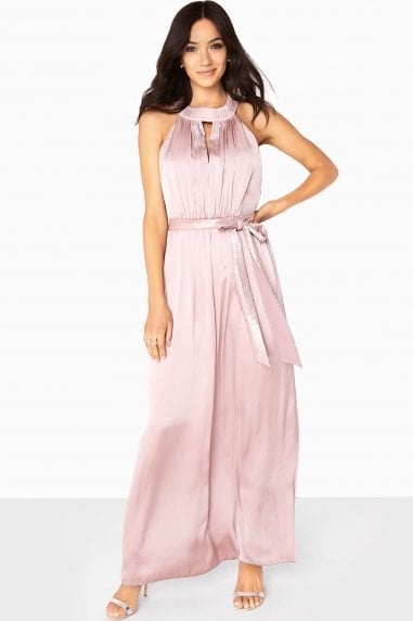 Bethany Satin Maxi Dress With Keyhole