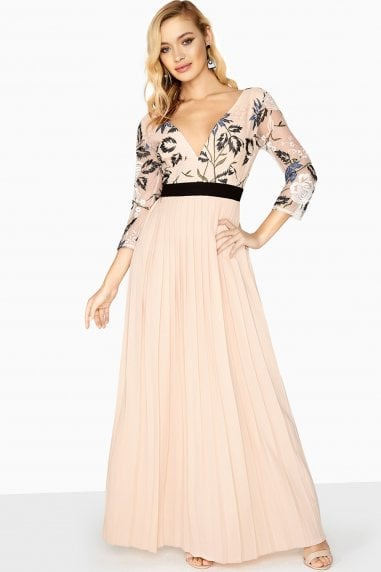 Luna Embroidered Pleated Maxi Dress