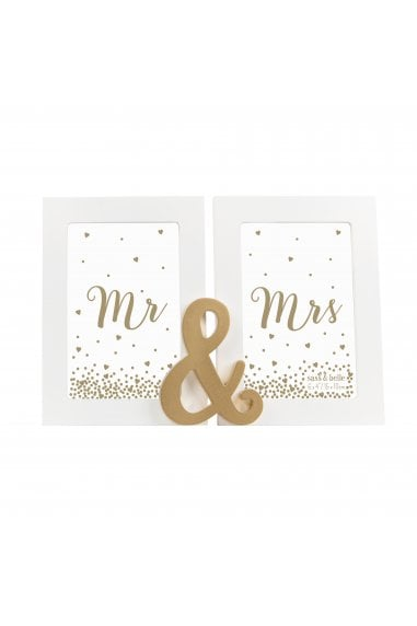 Sass & Belle Mr And Mrs Gold Double Photo Frame
