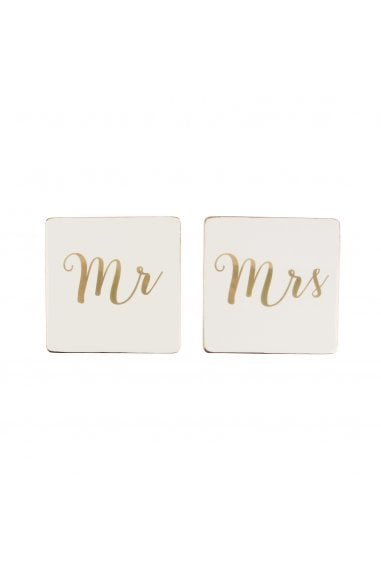 Sass & Belle Set Of 2 Mr And Mrs Gold Coasters