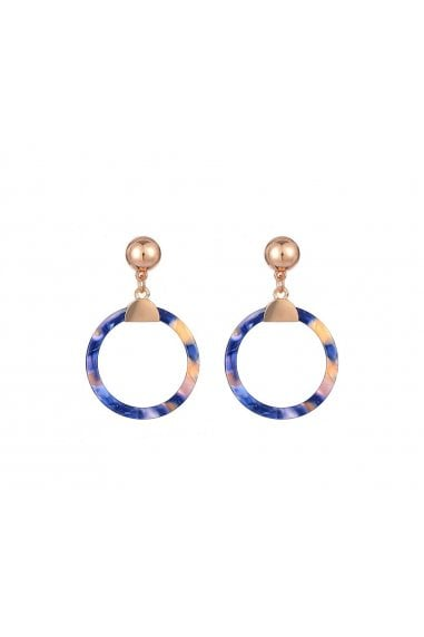 Blue Resin Drop Hoop Pendant Earrings