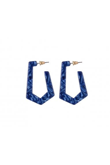 Blue Resin Geometric Hoop Earrings