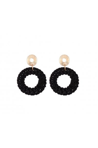 Black Woven Drop Hoop Pendant Earrings