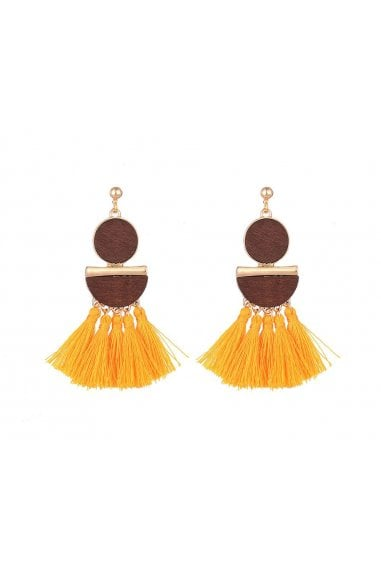Mustard Tassel Pendant Earrings