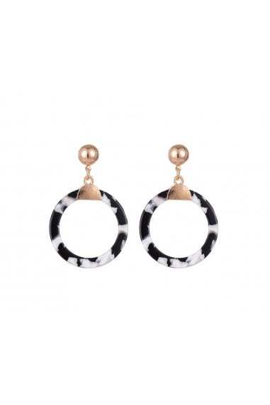 Monochrome Resin Drop Hoop Pendant Earrings
