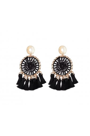 Black Tassel Pendant Earrings