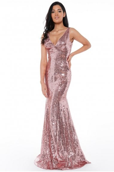 Sequined Low V Neck Maxi Dress - Rose