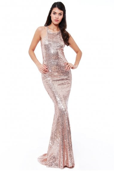 Bow Detail Sequin Maxi Dress - Champagne
