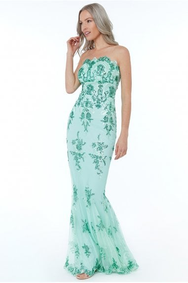 Strapless Sequin Embroidered Maxi Dress - Mint