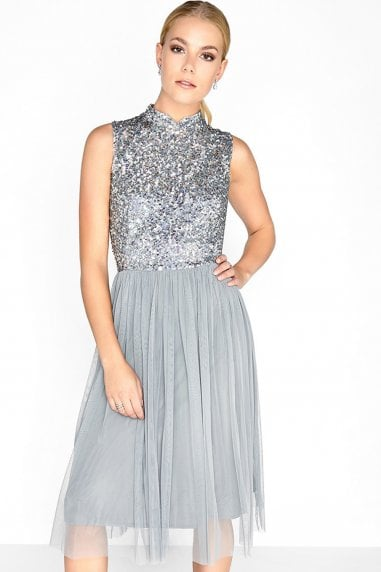Grey Sequin Midi