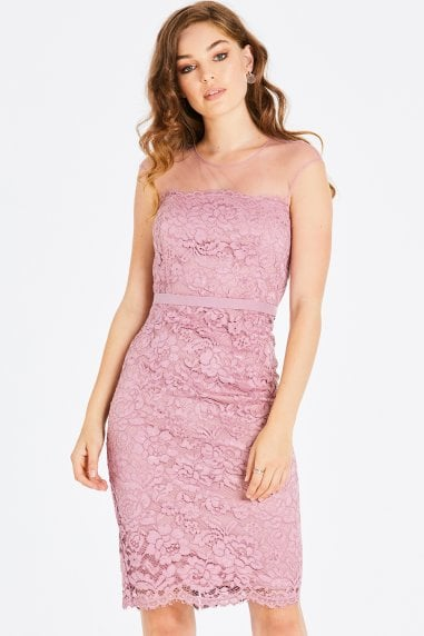 Alanis Blush Lace Pencil Dress