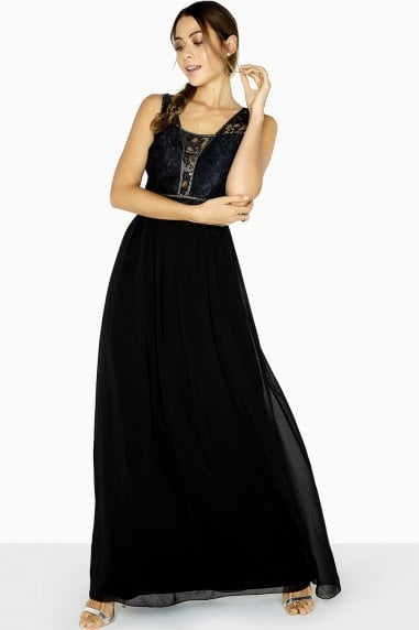 Francesca Lace Panel Beadwork Maxi Dress