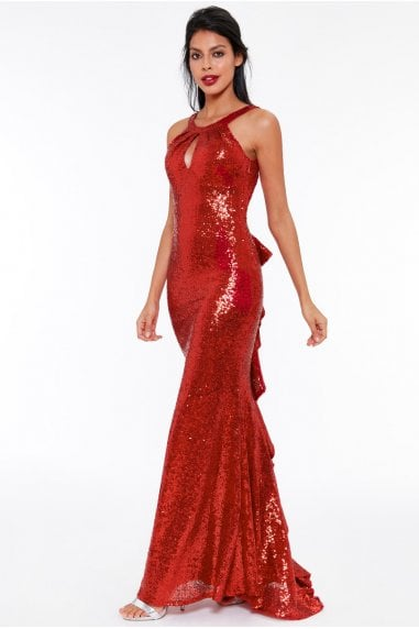 Red Halter Neck Fishtail Sequin Maxi Dress