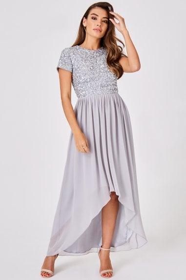 Luxury Elise Grey Hand-Embellished Sequin Hi-Low Prom Dress