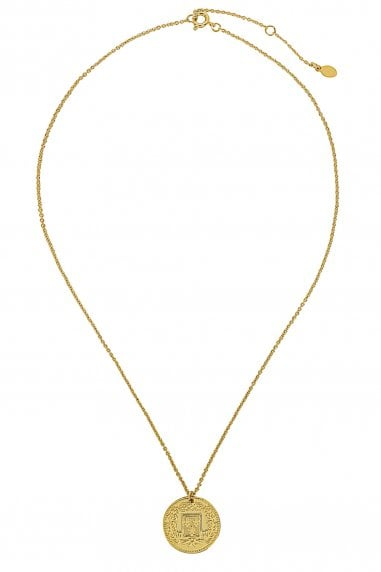 Gold Lunar Gold Plated Coin & White Shell Horn Layered Necklaces