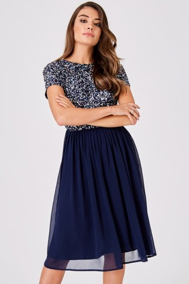Luxury Briella Navy Hand-Embellished Pearl Top Midi Dress