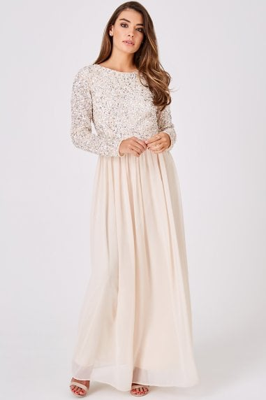Luxury Briella Nude Hand-Embellished Pearl Maxi Dress