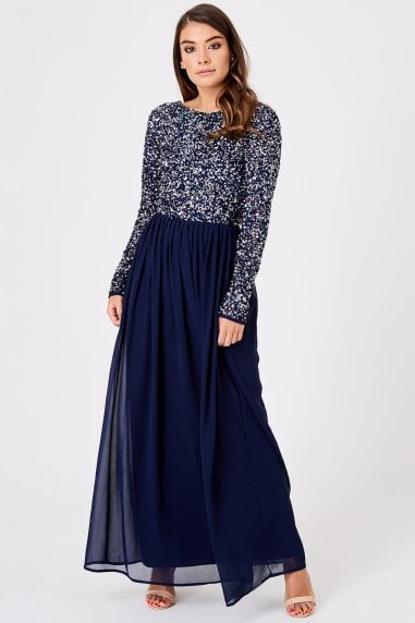 Luxury Briella Navy Hand-Embellished Pearl Maxi Dress