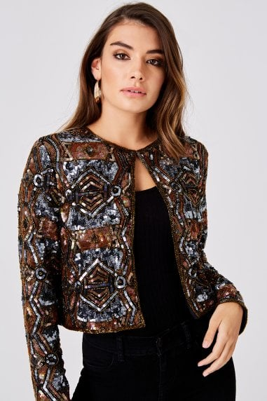 Luxury Leomie Copper And Gunmetal Hand-Embellished Sequin Jacket