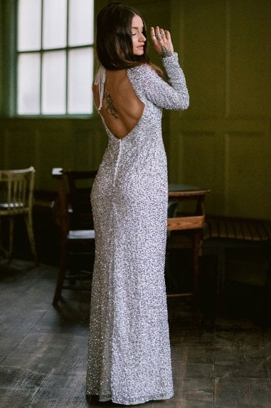 Pandora White and Silver Sequin Maxi Dress
