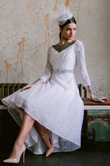 Roma White Lace Bardot Dress