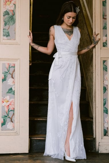 Stellar White Star Embroidery Maxi Dress