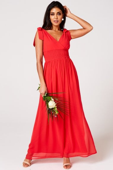 Aries Fiery Coral Plunge Maxi Dress