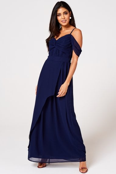 Cameo Navy Draped Maxi Dress