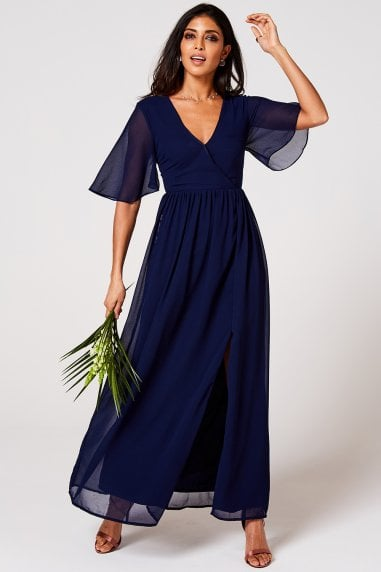 Iris Navy Mock Wrap Maxi Dress