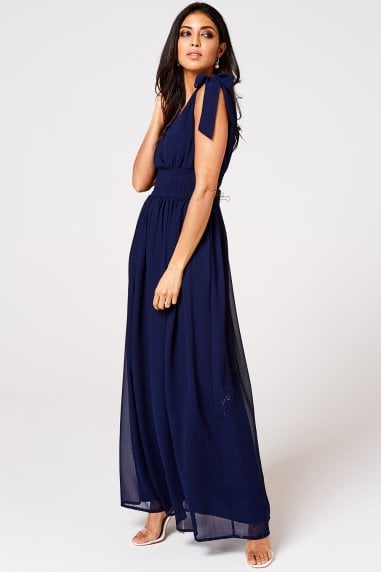 Aries Navy Plunge Maxi Dress