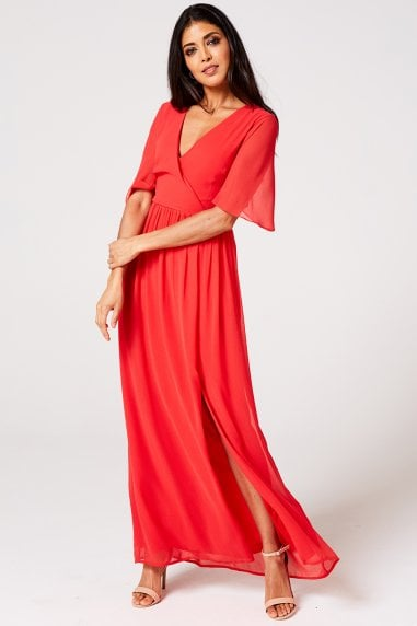 Iris Fiery Coral Mock Wrap Maxi Dress