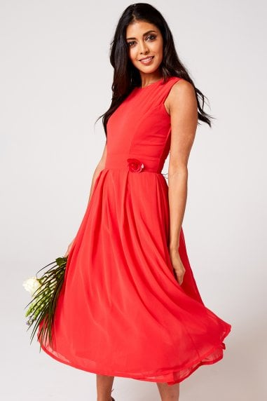 Isla Fiery Coral Midi Skater Dress